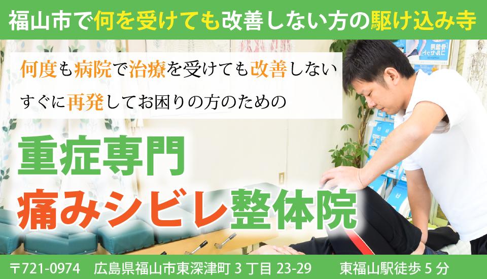 福山市で重症症状の方が集まる、クチコミ多数の整体院。患者さんの体験談も非常に多数。病院の治療でも治らない人のための駆込み寺